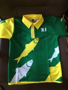 Sublimated cricket shirt with initial personalisation